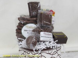 The contents of the medium size Chocolate Box Gift Basket